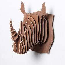 rhino wood animals wall hanging home decorative wall decor