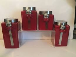 4 Piece Kitchen Canister Sets by Mainstays Red Stoneware Kitchen Canister Set 4pc Stainless Steel