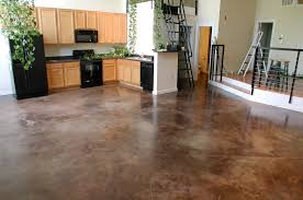 contemporary stained concrete basement floor with acid stain