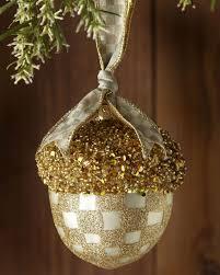 mackenzie childs parchment check acorn ornament