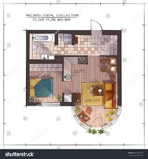 architectural color floor plan one bedroom stock vector 519841492