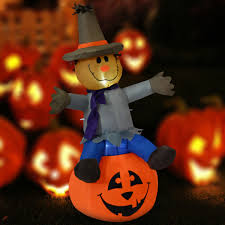 4ft halloween inflatable scarecrow pumpkin lighted yard lawn