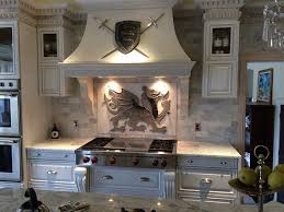 white concrete kitchen range hood design idea