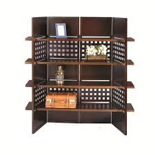 4 panel book shelves walnut finish room divider free shipping