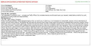 traffic officer application letter