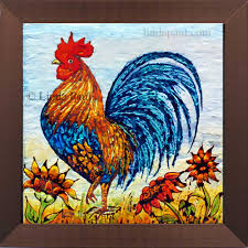 Kitchen Tile Murals Backsplash by Rooster Decor Framed Wall Art Or Backsplash Tile For Kitchen