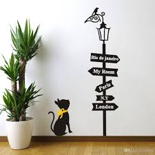 black cat under the birds lamp wall stickers london paris my room