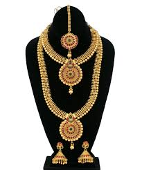 necklace set indian ethnic temple jewellery gold plated necklace set