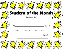 Free Printable Student Of The Month Certificate Templates student of the month awards school certificates templates