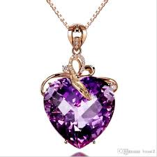 natural amethyst necklace images Wholesale luxury heart shaped amethyst pendant 18k gold color jpg