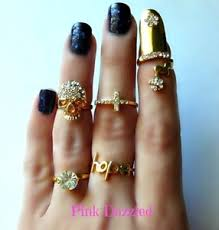 midi ring set skull cross gold midi ring set bling hip hop jewelry ebay