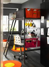 ikea boys bedroom ideas a children s room with a grey loft bed and a silver coloured desk
