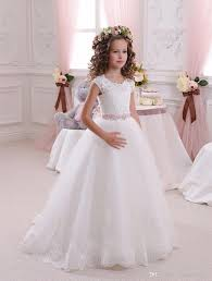 vintage communion dresses ivory white vintage cap sleeves tutu lace flower girl dresses 2018