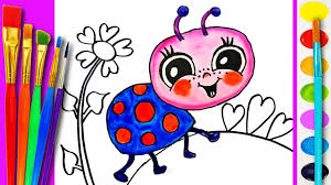 how to paint baby ladybug art learning coloring pages for kids