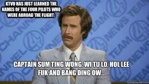 Sum Ting Wong Meme - captain sum ting wong wi tu lo hol lee fuk and bang ding ow ktvu