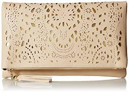 leather women s wallet pattern bmc womens over sized creamy beige perforated cut out pattern gold