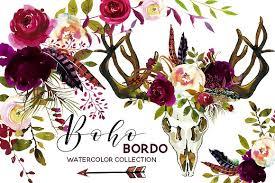 Burgundy Flowers Boho Burgundy Watercolor Flowers 2681217 Weddbook