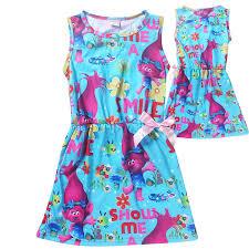 2017 girls dreamworks trolls dress poppy cartoon summer sleeveless