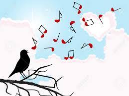 imagenes de notas rojas silueta del pájaro que canta con notas rojas ilustraciones