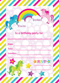 Birthday Invite Cards Free Printable Fill In Birthday Party Invitations Printable Rainbows And