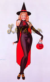 Vintage Pin Up Halloween Costumes by 1940 U0027s Halloween Witch Deluxe Art Print