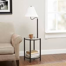 Colored Glass Table Lamps Mainstays Transitional Glass End Table Lamp Matte Black Walmart Com