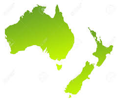 New Zealand And Australia Map Green Gradient Map Of Australia And New Zealand Isolated On A