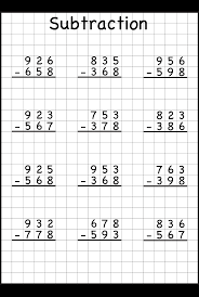 three digit subtraction worksheets 3 with regrouping worksheet