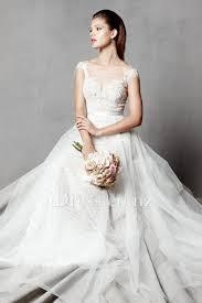 Tulle Wedding Dresses A Line Illusion Bateau Neck Lace And Tulle Wedding Dress Idress