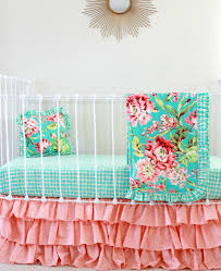 Pink And Teal Crib Bedding by Coral And Turquoise Crib Bedding In Tropical Floral With Peach