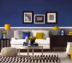 great blue and yellow living room grey walls living room blue