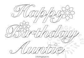 auntie happy birthday coloring