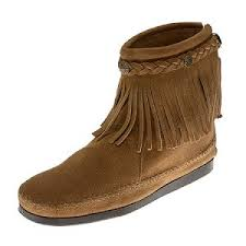 womens size 12 fringe boots minnetonka moccasins 297t s high top fringe boot taupe