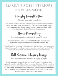 our interior design service menu