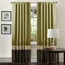 Green And Brown Curtains Bottom Banded Drapes Search Drapes Banded Pinterest