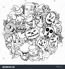 halloween background dental monochrome hand drawn illustrations objects day stock vector