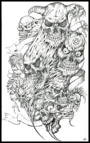 collection of 25 horror skull on belly