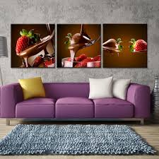 Living Room Pieces 3 Pieces Chocolate Strawberry Paintings Canvas Wall Art Fruits
