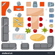 top view interior furniture icons flat stock vector 615325520
