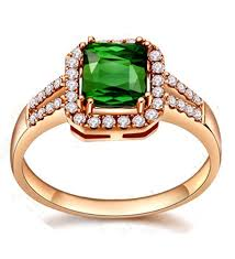 2 carat cushion cut emerald and diamond engagement ring in rose