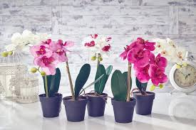 artificial orchid flowers plants in pot home decor garden fuchsia