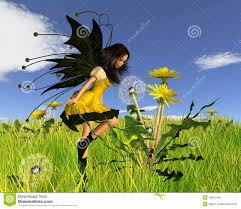 dandelion fairy with springtime background royalty free stock