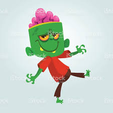 Halloween Holiday In Usa Cartoon Funny Green Zombie With Big Head In Brown Pants And Red