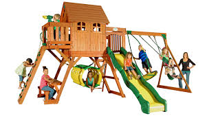 oxford swingset with raised clubhouse multiple decks bouncy tube