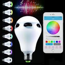 led light bulb speaker bluetooth control music audio speaker led color bulb light l