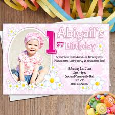How To Write A Birthday Invitation Card 10 Personalised Girls First 1st Birthday Party Photo Invitations N27