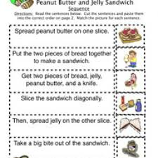 how to peanut butter jelly sandwich sequence worksheet