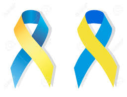 blue and yellow ribbon blue and yellow ribbon symbolizing attention to the problem of