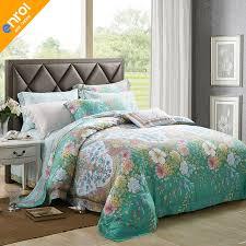 tencel silk 4pcs bedding set queen king flowers boho style bedding