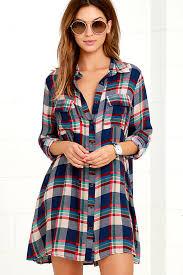 cute red and navy blue plaid dress long sleeve plaid dress